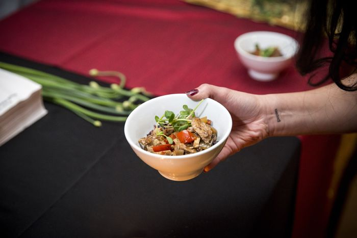 Presidential Gourmet Fine Catering headed up five food stations serving Chinese cuisine. The dishes included dim sum, stir fry, and more. Photo: Ryan Walker