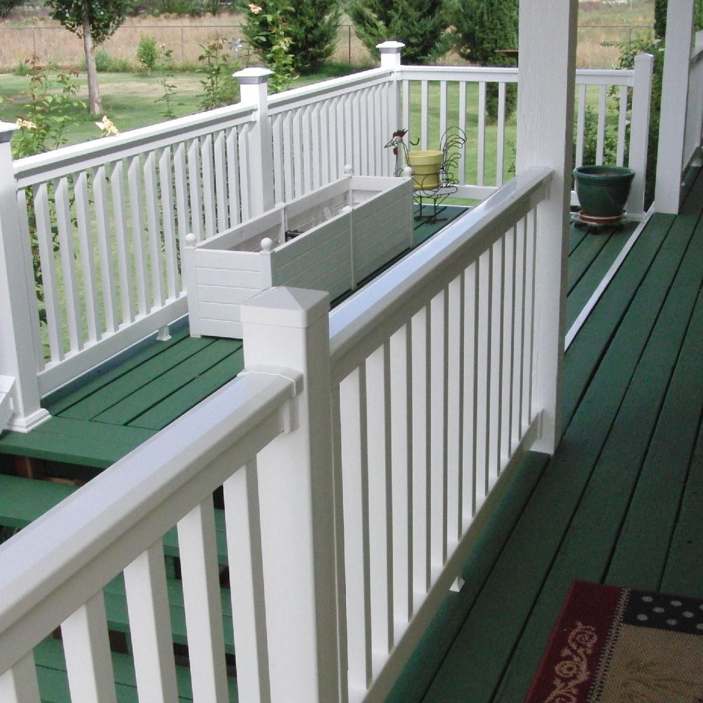 This Vinyl Railing Comes In A Kit With Easy To Follow Installation Instructions For Any Porch Or Patio Needs Vinyl Deck Railing Vinyl Deck Deck Railings
