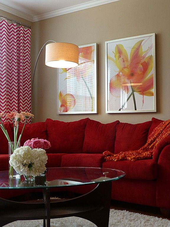 Contemporary living room red tan orange pops of Orange and red living room design