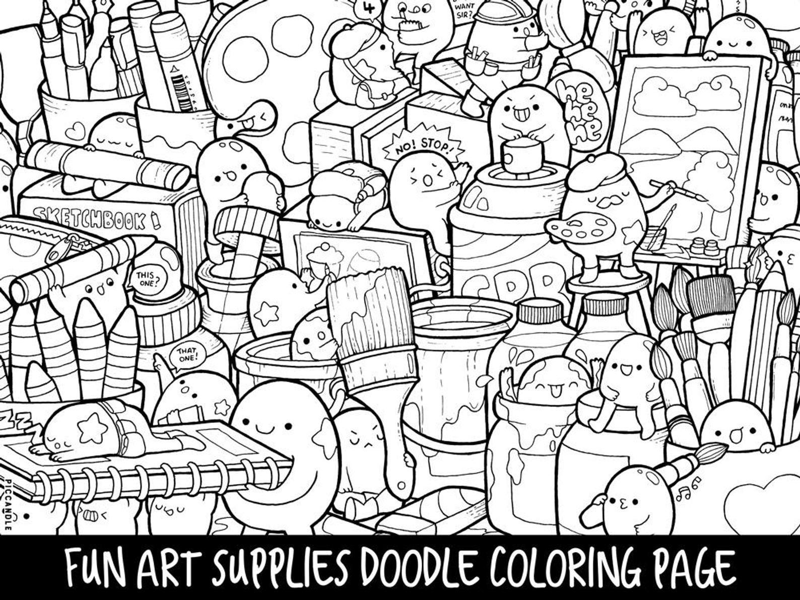 Art Supplies Doodle Coloring Page Printable Cute Kawaii Etsy Doodle Coloring Monster Coloring Pages Kawaii Doodles