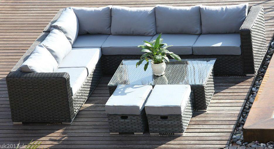 yakoe conservatory modular 8 seater rattan corner sofa set garden