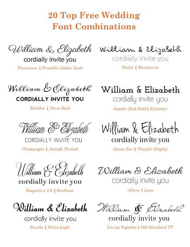 Check Out These Free Google Wedding Font Combinations If You Are Planning On Diy Invitations