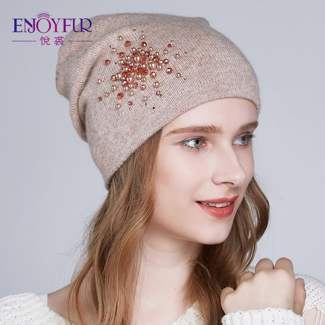 fcfc7f16538 ENJOYFUR Winter knitted hats for women warm lining rhinestons beanies hat  female brand new good quality angora wool caps