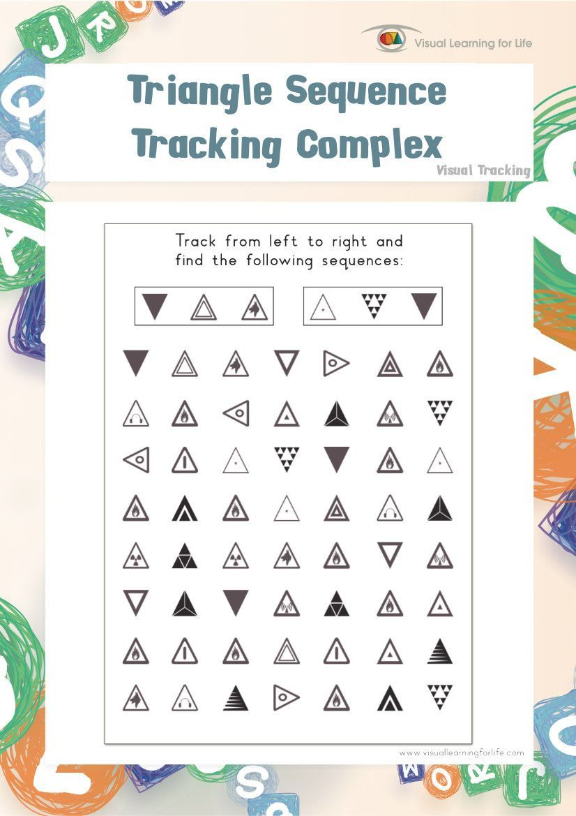 worksheet Visual Tracking Worksheets triangle sequence tracking complex individual file download in the worksheets student must