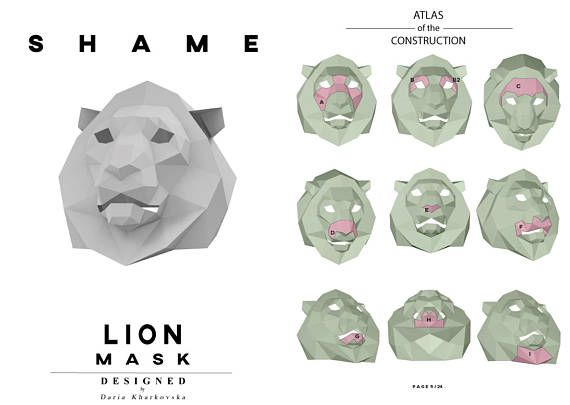 Make Zombie Mask,DIY Head,Instant Pdf download, Paper Mask,Horror - face masks templates