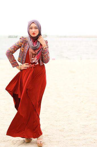 hijab muslim girls skirt red street style islamic fashion