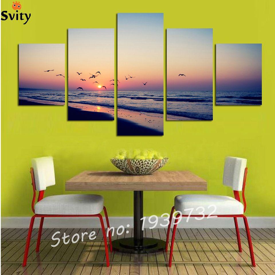 $19.24 - Cool 5 Panel Unframed Seacape Beach Sunset Canvas Print ...