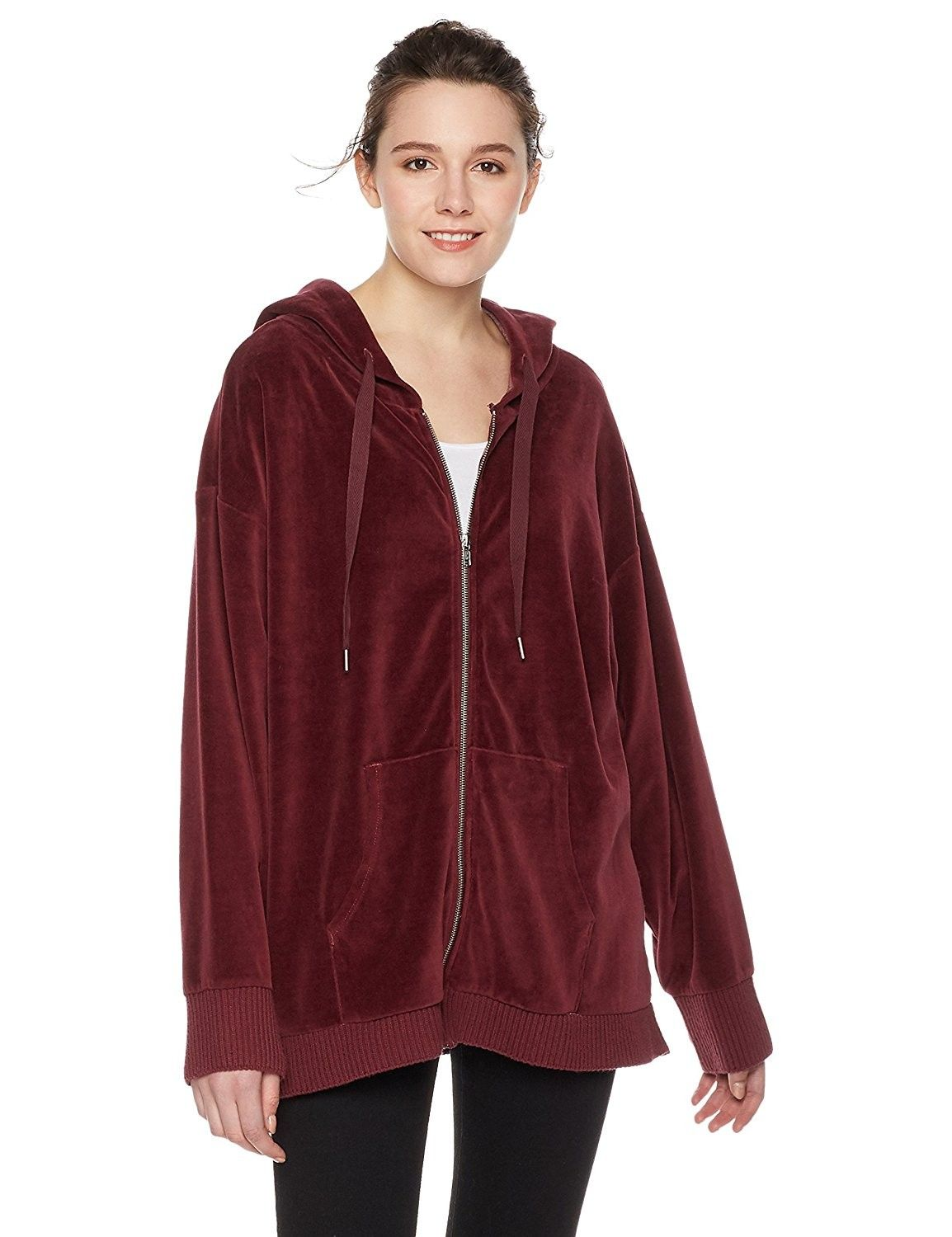 Women S Washed Oversized Velour Zip Up Hoodie Port Royale Ca186zid624 Sweatshirt Fashion Online Womens Clothing Clothes For Women