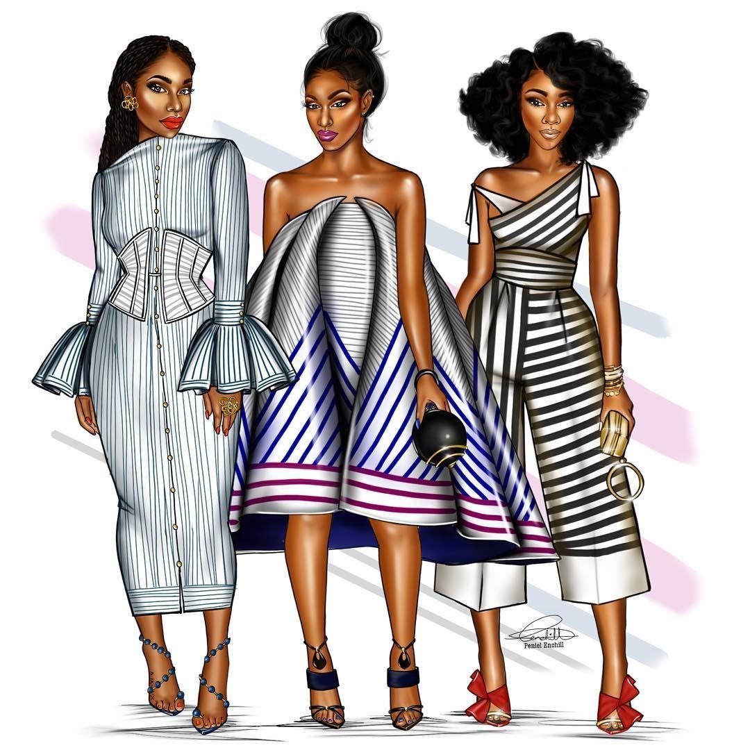 "3,023 Gostos, 41 Comentários - Penie (@peniel_enchill) no Instagram: ""This week's squad. #ForTheLoveOfStripes #FashionIllustration"""