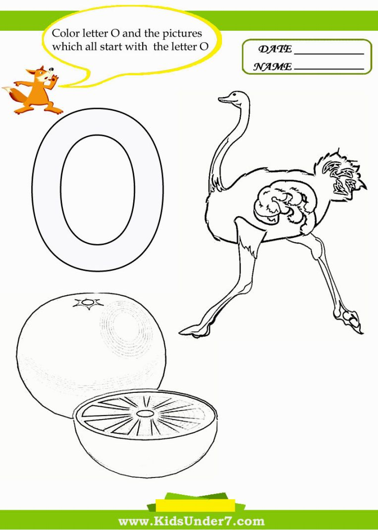 Letter O Coloring Pages Preschool