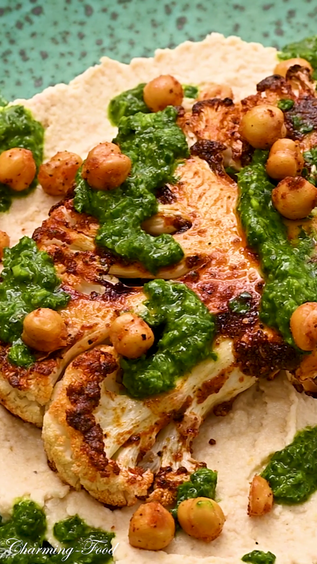 CAULIFLOWER STEAK WITH ROASTED CHICKPEAS AND CHIMI