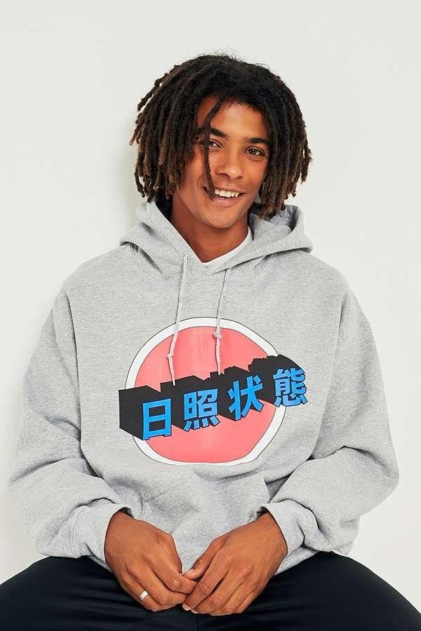 8607c17c5 UO Japanese Sign Grey Hoodie | Urban Outfitters | Men's | Tops | Hoodies &  Sweatshirts #UOEurope #UrbanOutfittersEU #UOMens