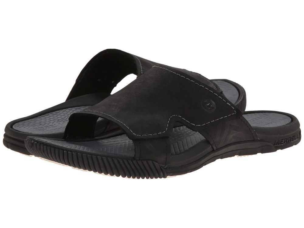 ca2369774de4e Merrell Terracove Delta Men Leather Slide Sandals J21763 Casual Shoe Black  12