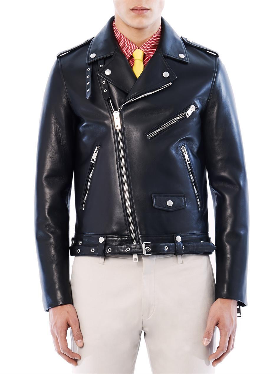 Burberry Prorsum Black Leather Biker Jacket For Men Lyst Black Leather Biker Jacket Leather Jacket Style Jackets [ 1267 x 950 Pixel ]