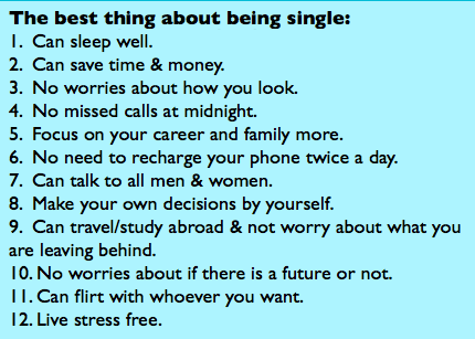 best thing about being single . . .