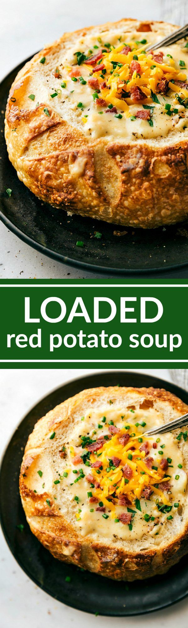 A delicious and fully loaded cheesy potato soup made with red potatoes instead! All the flavors you know and love stuffed into a potato and made into a soup! via chelseasmessyapron.com #potatosoup