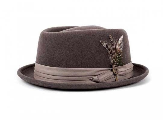 121527e0699 Stout Pork Pie Hat by Brixton- Grey