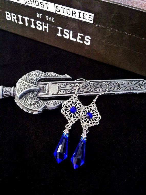 Gothic Crystal Earrings Blue Drop Earrings Silver Filigree Earrings ... 95e65dd8ff3