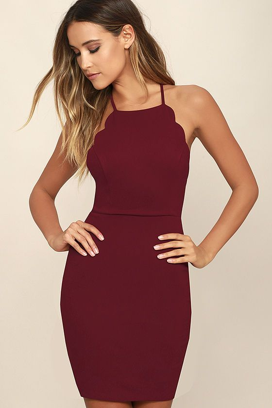 Spend the night dancing your heart out in the Heart's Content Wine Red Bodycon Dress! Medium-weight stretch knit shapes a princess-seamed bodice with scalloped detail that travels from the apron neckline all the way to the sultry, open back. Skinny straps cross at back above a bodycon skirt. Hidden back zipper/hook clasp.