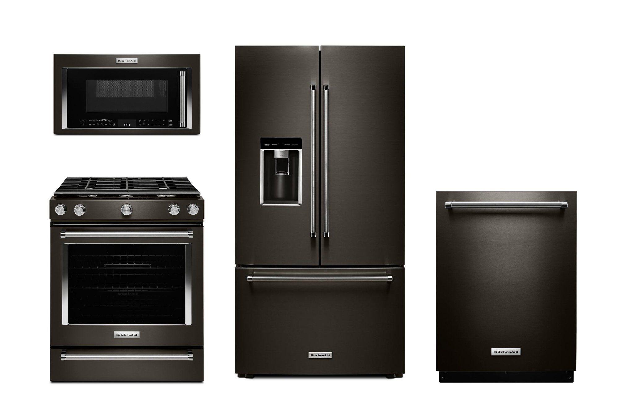 KitchenAid 4 Piece Kitchen Appliance Package with Gas Range ...
