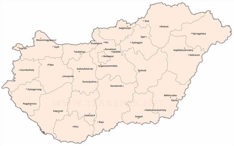 Térkép Magyarország Városai