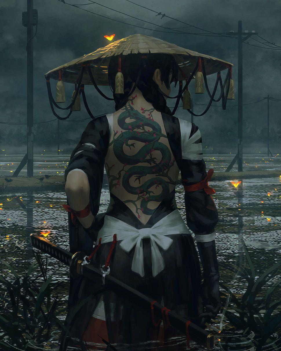 Female Ninja Character Digital Wallpaper Warrior Fantasy