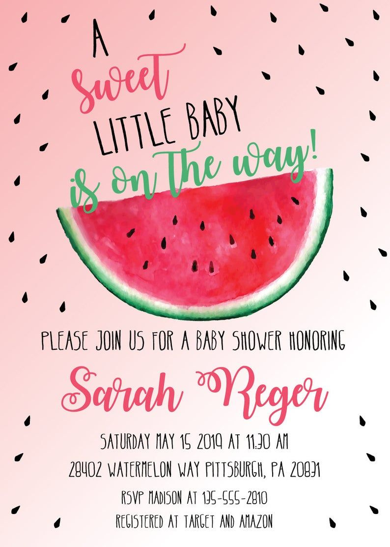 EDITABLE Printable Watermelon Baby Shower Invitation | Etsy