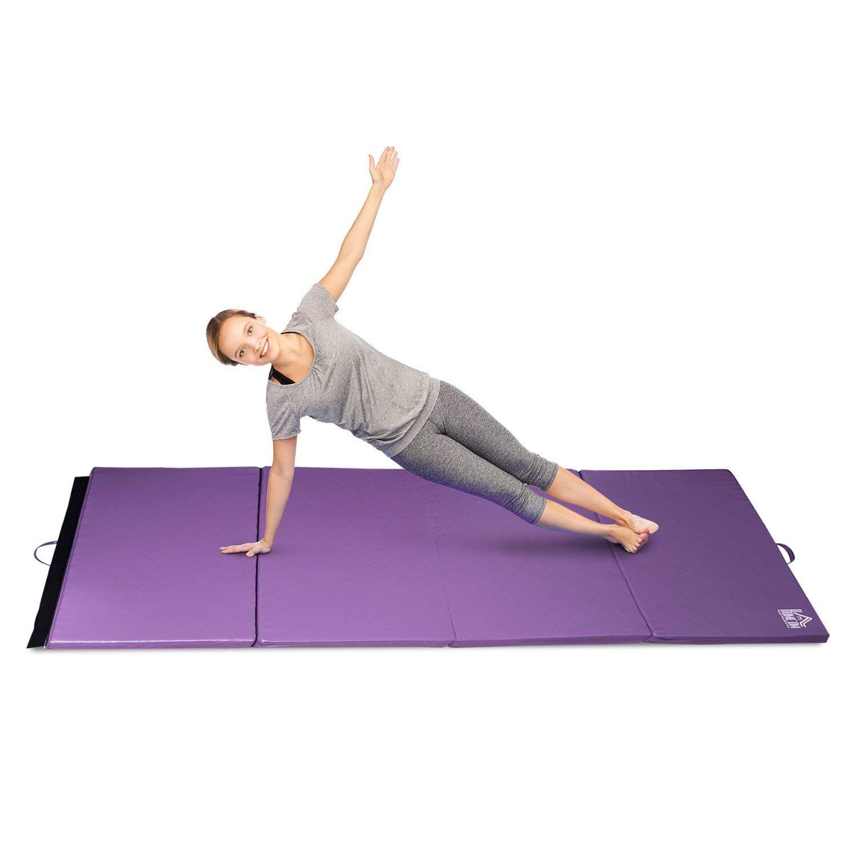 Homcom Tapis De Gymnastique Yoga Pilates Fitness Pliable Portable