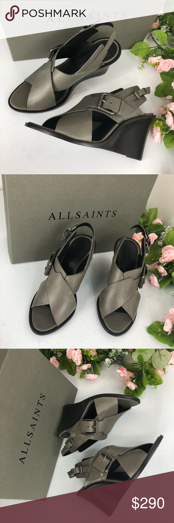3bf8544333a3 Allsaints Elin wedge dark grey shoes size 36 (A7) New with box Allsaints  dark grey wedge sandals Elin size 36 ( Box A7) Made in Brazil Strappy  leather ...
