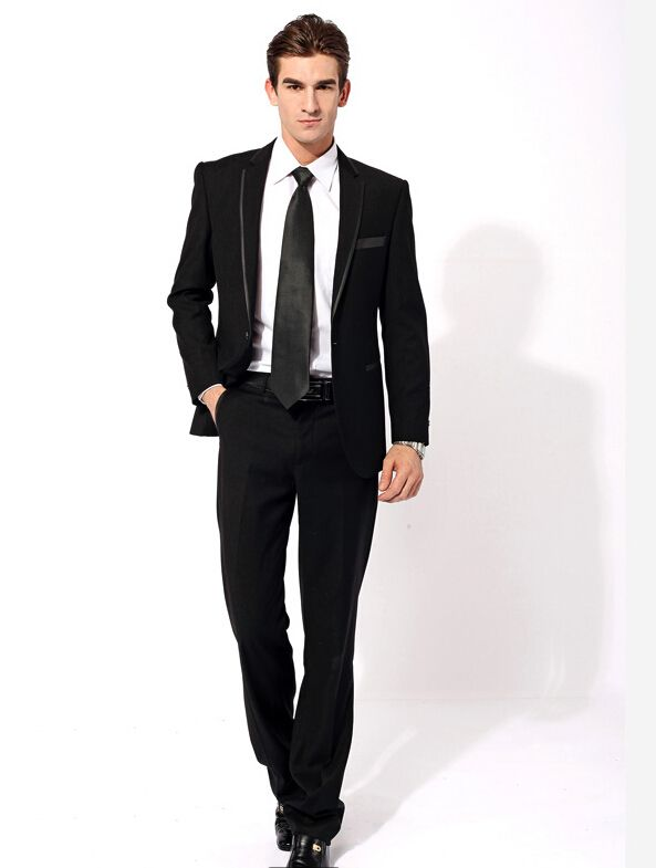 Elegant-fashion-men-Groom-Wear-simple-black-suit-men-s ...