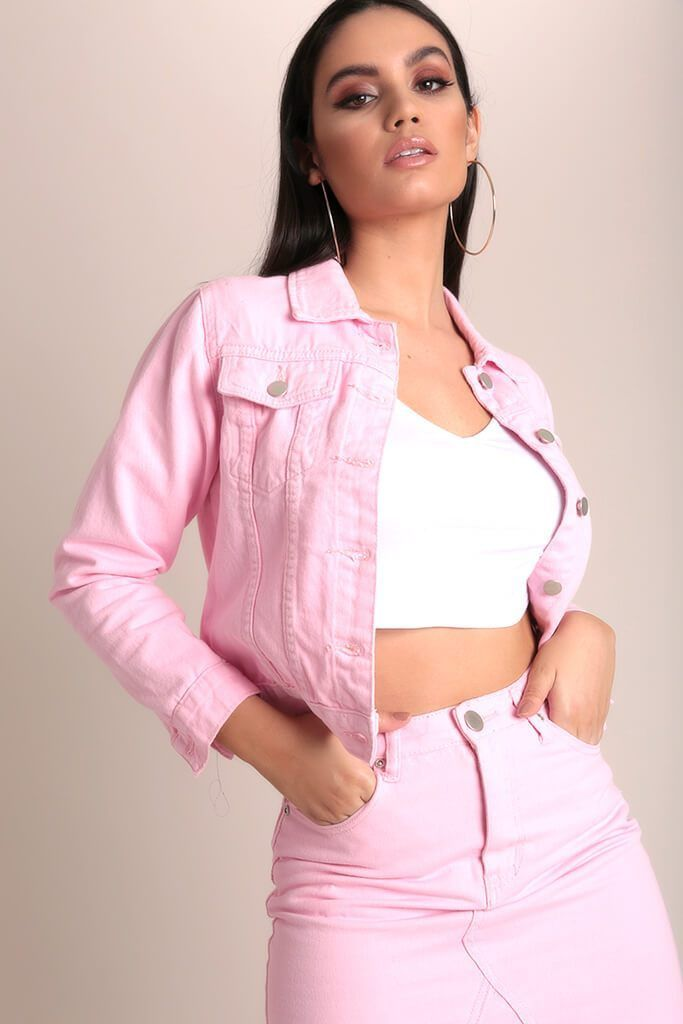 838190c7b86 Dusky Pink Contrast Stitch Crop Denim Jacket - PDP – I SAW IT FIRST