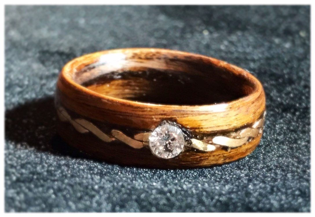 Diamond Ring 4mm Twisted Gold Filled 14k Womens Wood Ring Wood