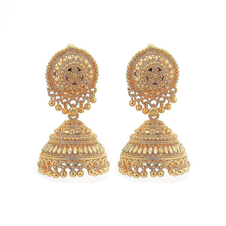 80a1a6eb3 Buy Jewar Mandi gold plated Earrings jhumka chandbali New Look Design one  Gram Plated Handmade Jewelry