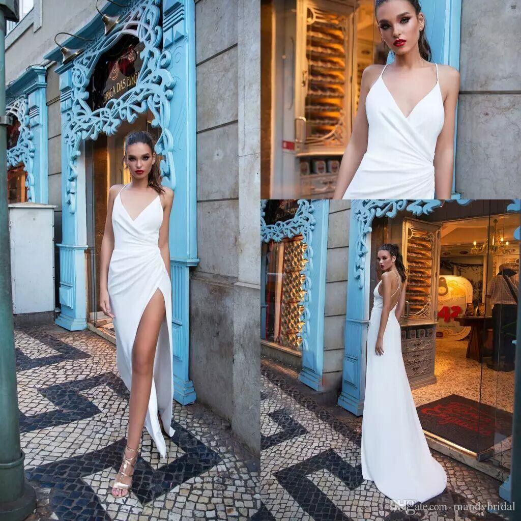 Simple Milla Nova Beach Wedding Dresses 2018 Sheath Thigh High Slits ...
