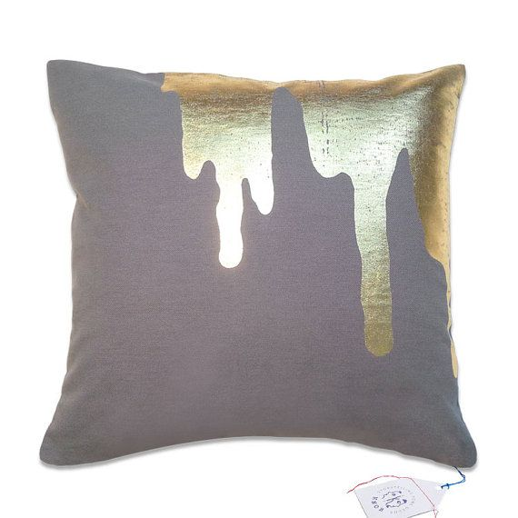 gold splash  on dark grey  throw pillow  toss pillow by StudioKnob