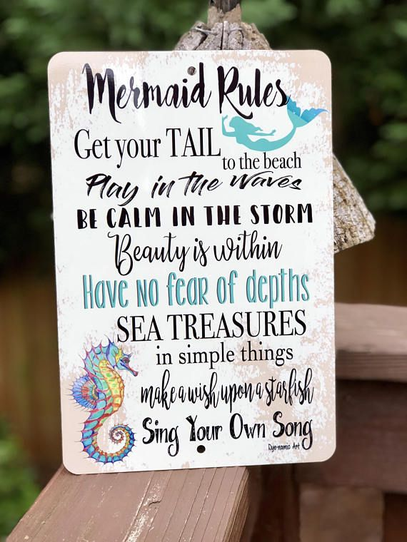 Mermaid Rules- Beach Decor - Metal Sign - Home Decor - Mermaid Sign - Kids Room - Ocean Life #mermaidsign