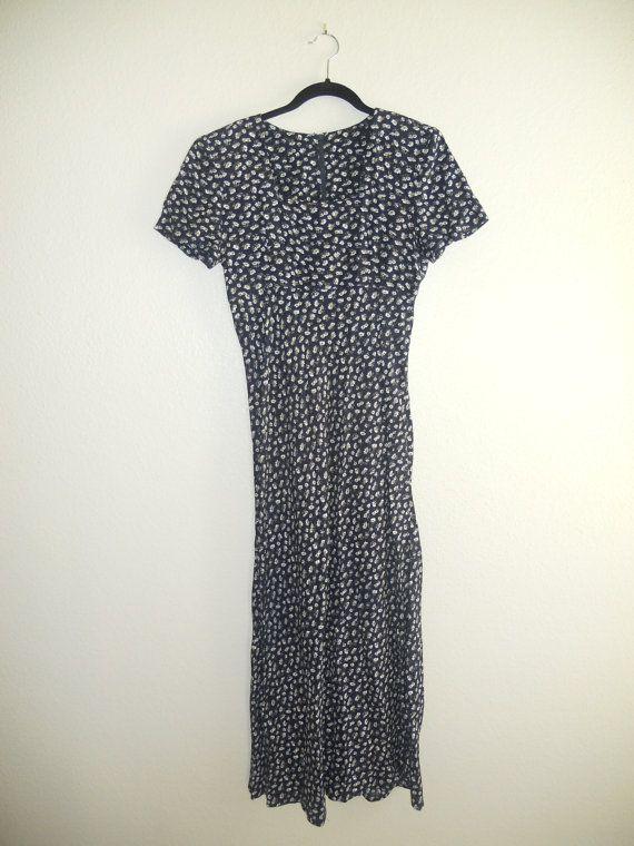 90s Floral Print Maxi Dress Large 1990s Tank Sleeveless