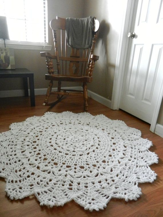 Giant Crochet Doily Rug Wedding Decor Baby Shower Gift Large White Lace Area Cottage Chic Rustic Home Round