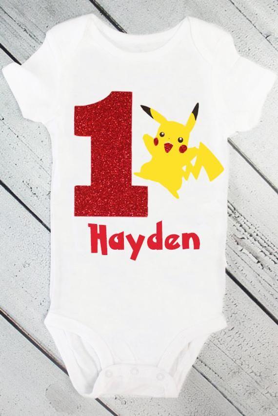 aae2e078 Pikachu Birthday Onesie- pokemon go, red, yellow, name, personalized, girl,  toddler, cake smash, bir