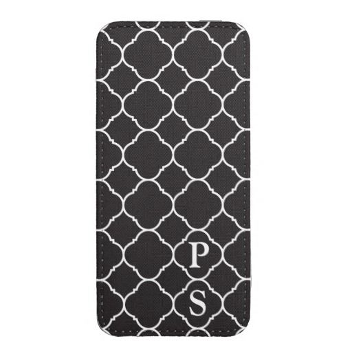 Black and White Quatrefoil Pattern Phone Pouch with or without your initials