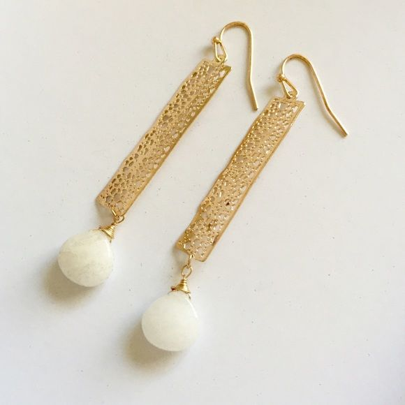 White and gold bar earrings NWT Gold plated new with tags. Also have other styles available. If you have any questions or concerns please let me know! Price is firm unless bundled  Farah Jewelry Jewelry Earrings