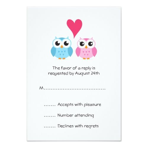 Cute Owl Bride And Groom Couple Heart Reply RSVP