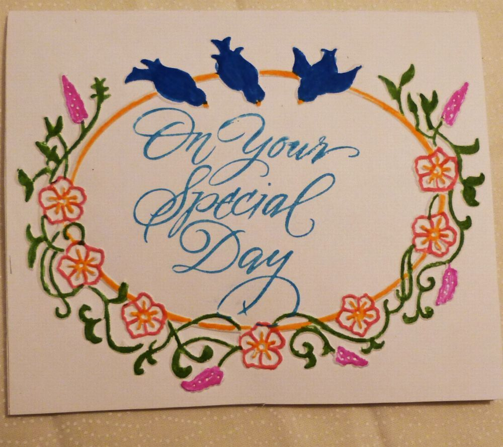 Handmade Greeting Card On Your Special Day Card Birds Card All