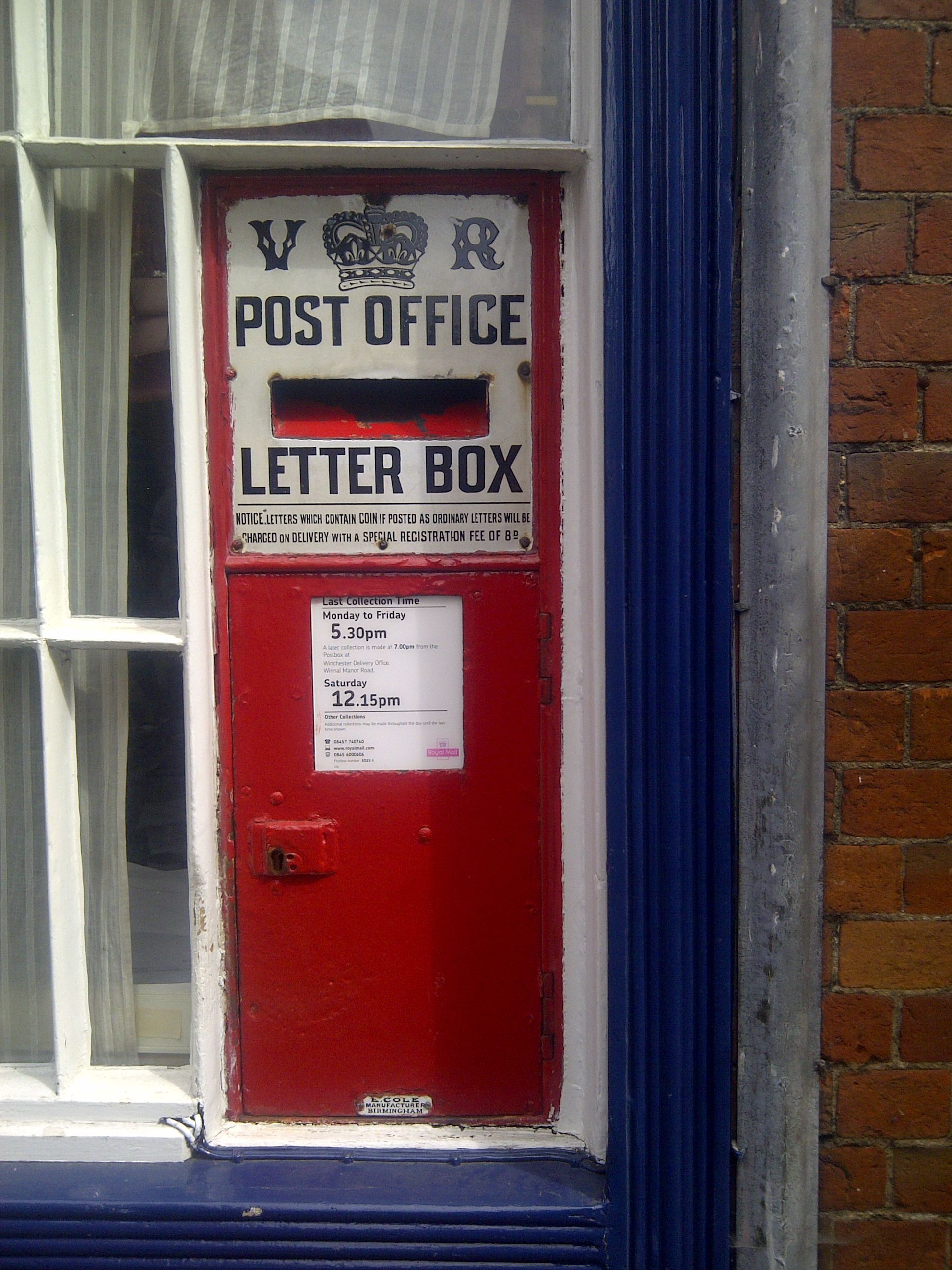 Winchester Victorian Ludlow postbox by E Cole Birmingham