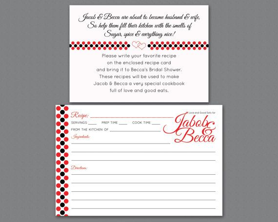 Card Recipe For Bridal Showers