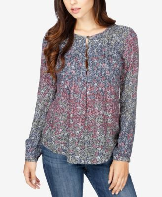 Lucky Brand Printed Pleated Blouse | macys.com