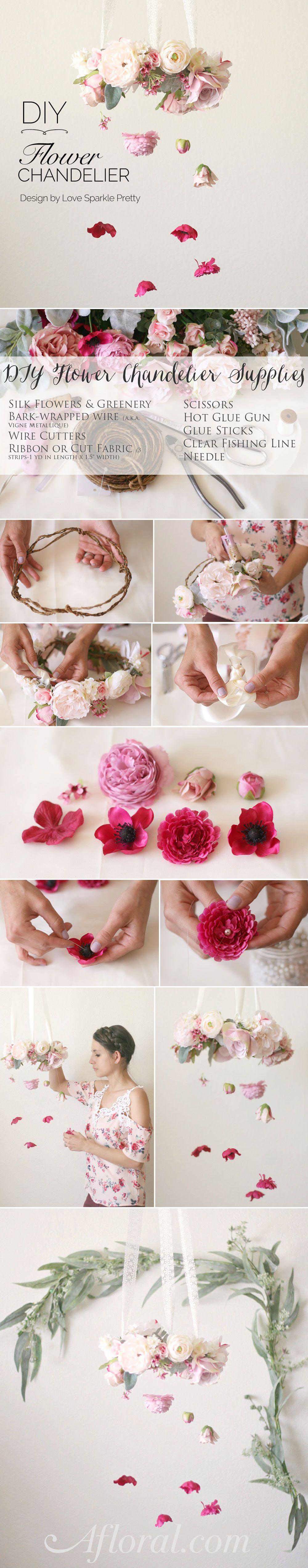 How To DIY Flower Chandelier  데코, 꽃장식 및 꽃