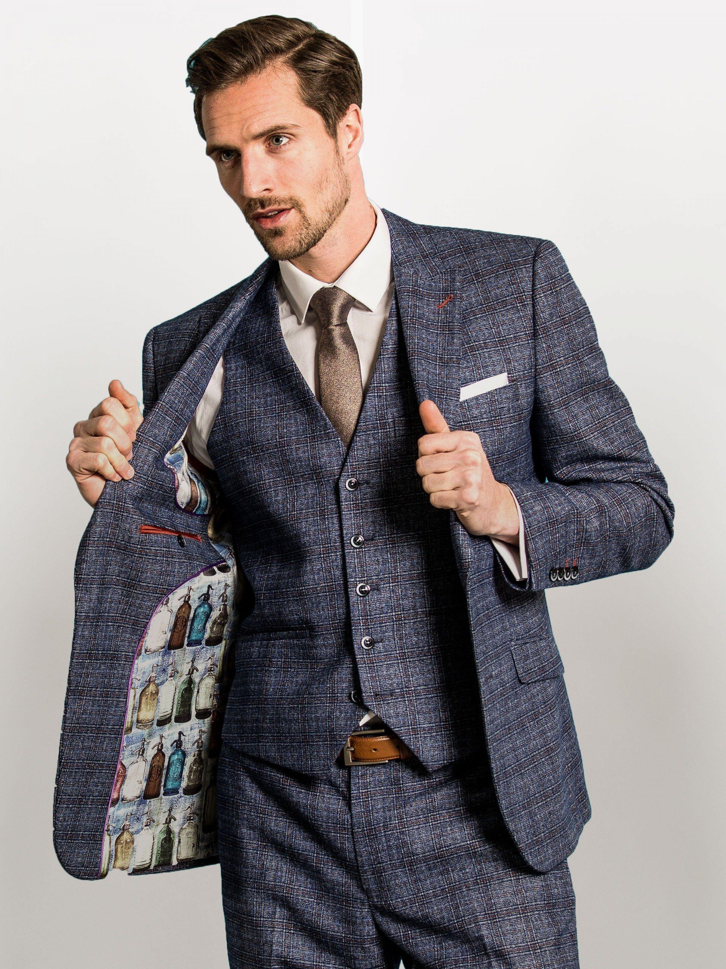 df6f79c0ad355d OneSix5ive Luxury Blue Check Three Piece Slim Fit Suit | Trajes ...