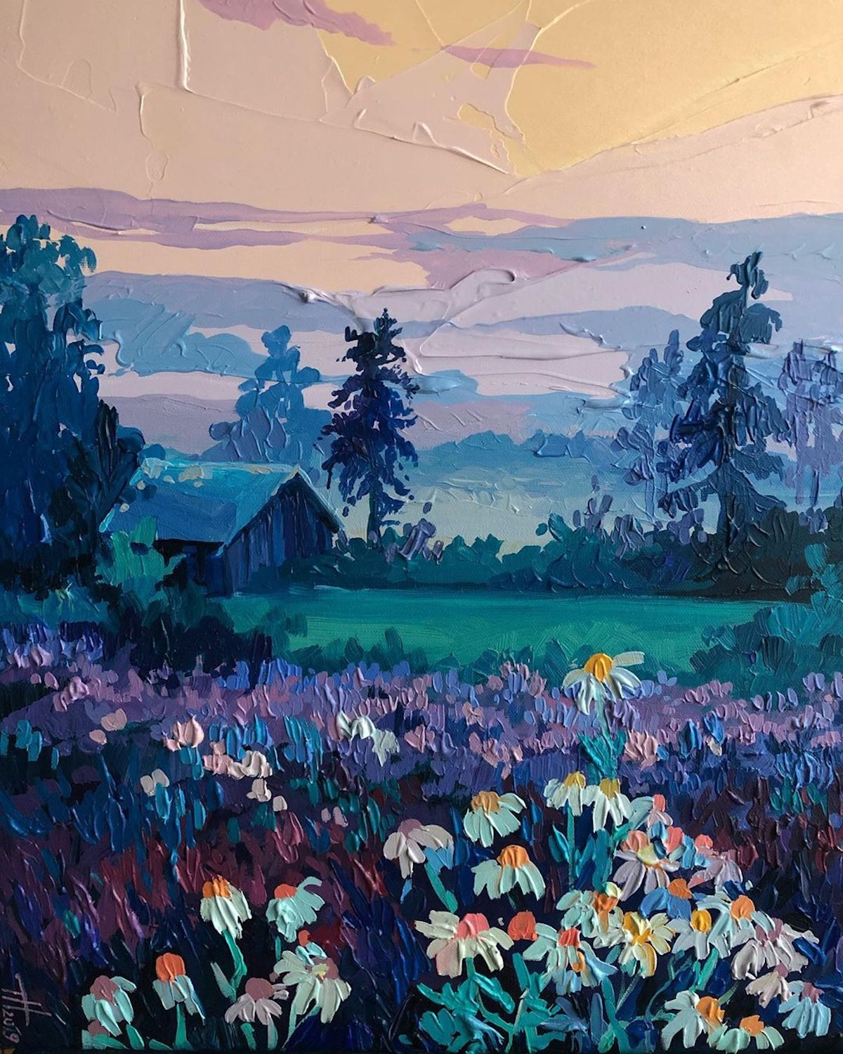Brilliant Textured Paintings Capture European Countrysides In Kaleidoscopic Colors In 2020 Painting Landscape Paintings Colorful Oil Painting