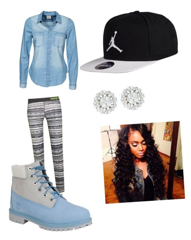 """Black and blue"" by www-daetrianaagnew on Polyvore featuring NIKE, Timberland, Vero Moda, women's clothing, women, female, woman, misses and juniors"